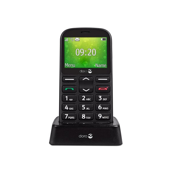 Doro 1361 negro móvil senior dual sim 2.4'' cámara 2mp bluetooth radio fm micro sd incluye base de carga