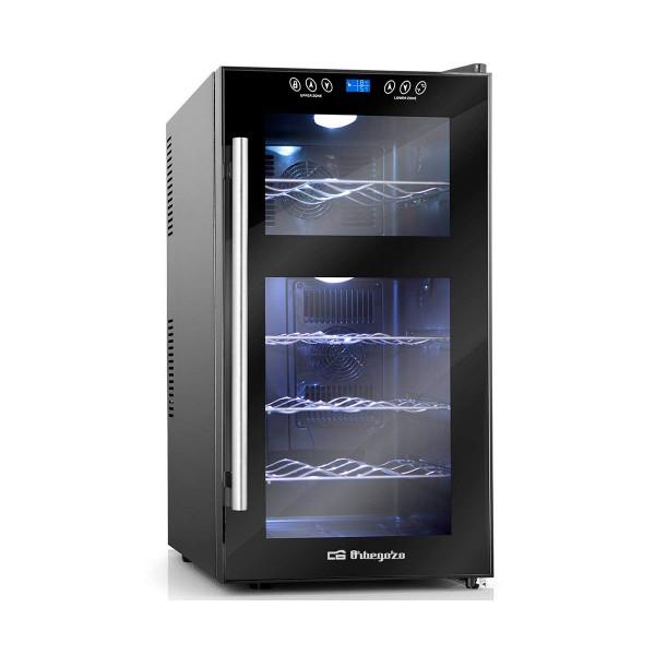 Orbegozo vt 1810 vinoteca para 18 botellas con display digital y control electrónico de temperatura de 2 zonas