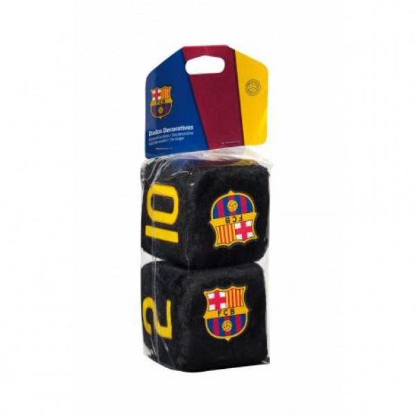 """Dados negros decorativos """"fc barcelona"""" 7x7cm."""