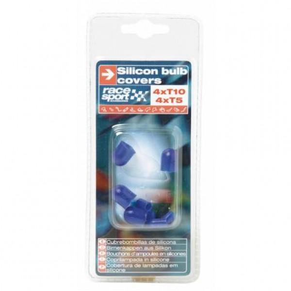 Cubrebombillas silicona, 4 x t10, 4 x t5 azul