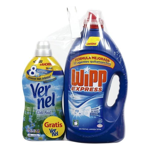 Wipp express detergente gel  2250 ml 45 dosis + vernel suavizante 54+3