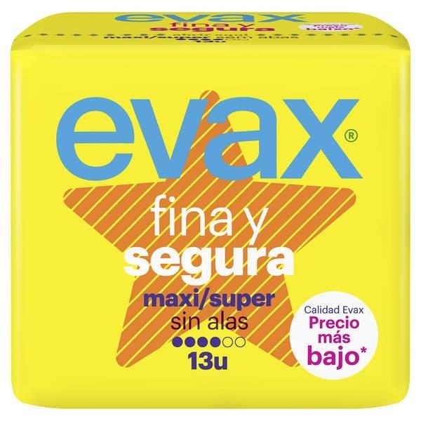 Evax Fina y segura maxi/super sin alas 13 u