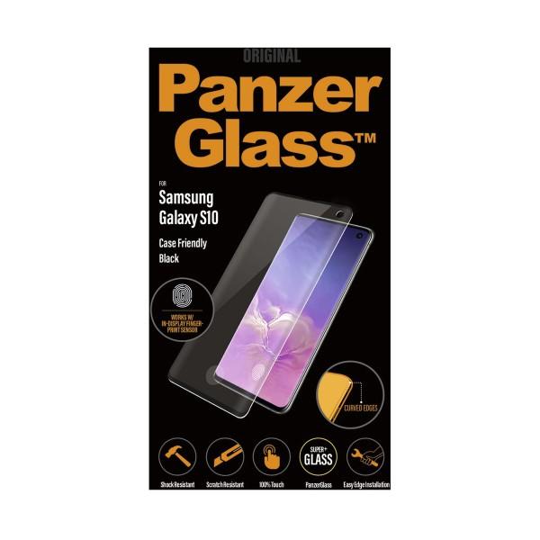 Panzerglass protector de cristal samsung galaxy s10 fingerprint case friendly negro