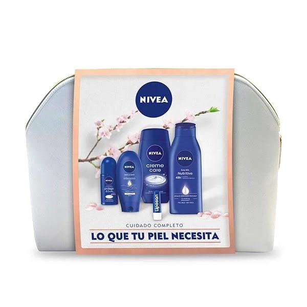 Nivea Cuidado Completo Crema de Manos 100 ml + Gel de Ducha 250 ml + Loción Corporal 400 ml + Desodorante RollOn 50 ml + Bálsamo Labial 4,8 gr