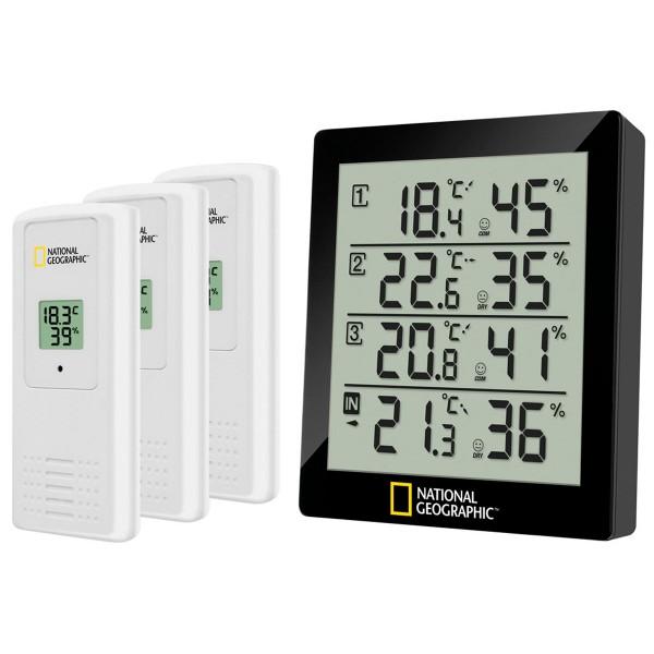 National geographic negro termómetro e higrómetro con 4 datos de medida funciona a pilas