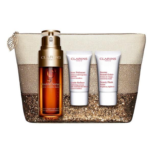Clarins double serum 50ml + beauty flash balm 30ml vaporizador + miniatura labial 01