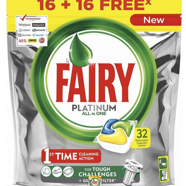 Fairy lavavajillas tabs platinum 16+16 capsulas gratis