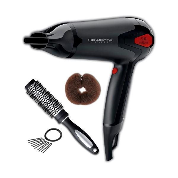 Rowenta cv5374f5 studio dry 2100w negro rojo secador de pelo con difusor y peine