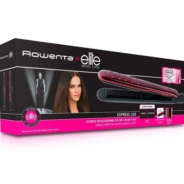 Rowenta sf4012 express liss negra y rosa plancha de pelo cabello seco o húmedo 230ºc